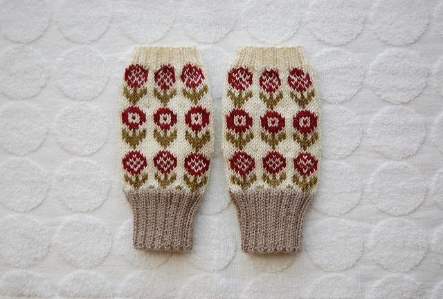 手編みの指なしミトン  【18 Fiori 】赤