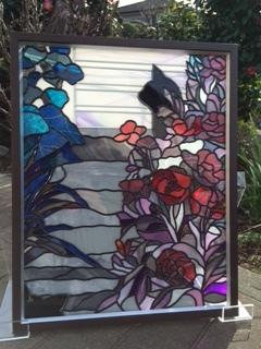 黒猫と風景の飾り額*グラスアート作品