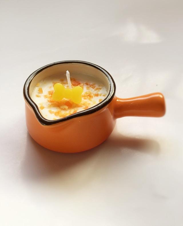 ミルクパン型キャンドル オレンジ