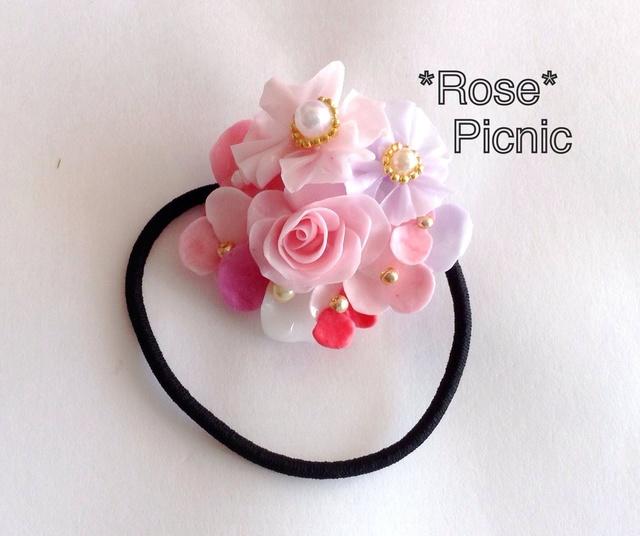 お花のブーケ カラフルバラのヘアゴム