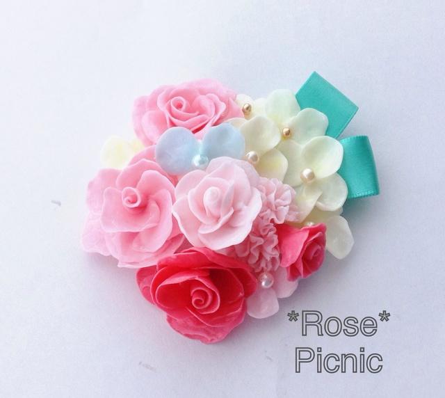薔薇のアクセサリー 幸せヘアのお花ブーケブローチ