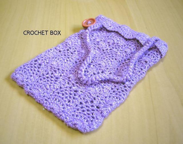 パイナップル編みのデジケース 紫ラメ