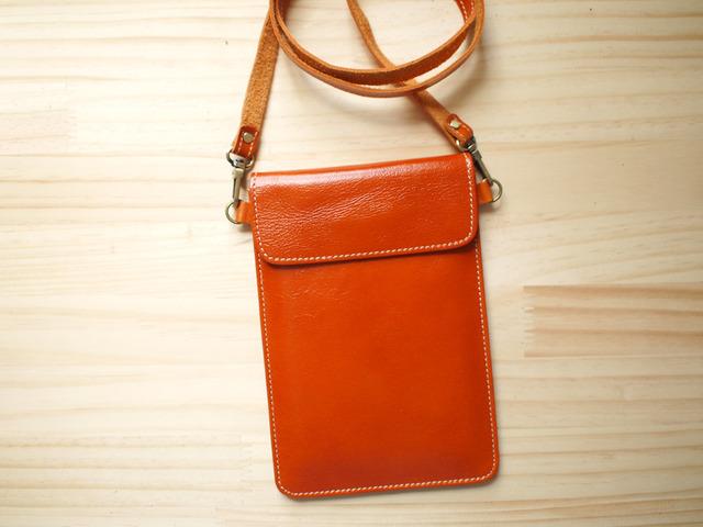 パスポートバッグ Travel Passport leather bag, ORANGE