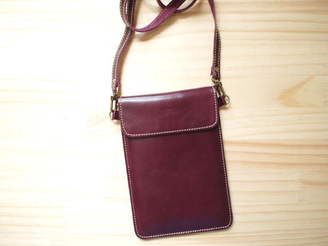 パスポートバッグ Travel Passport leather bag, PURPLE