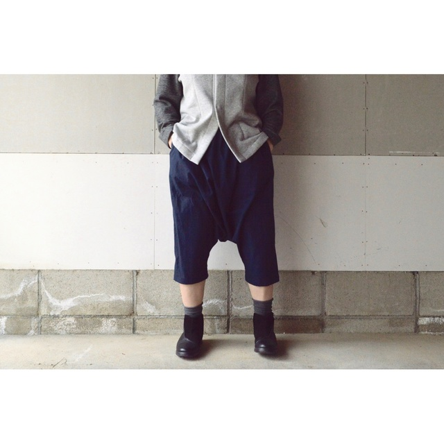 SARROUEL PANTS NAVY【S~M】(COTTON VIYELLA)