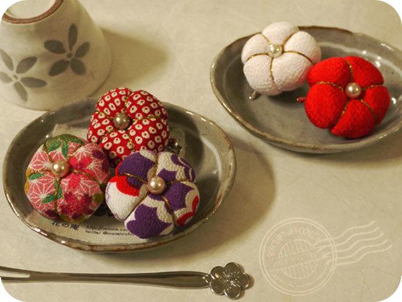 和菓子風お花のブローチ(梅)