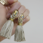 clear shell ×marble tassel ピアス イヤリング