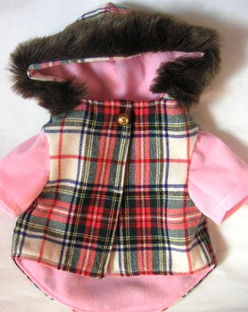 わんこのお洋服-チェックのコート(ピンク)