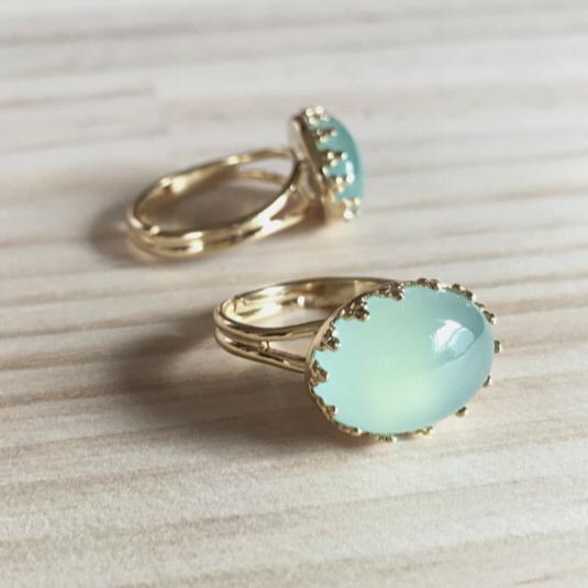 sea blue  chalcedony  フリーサイズの指輪