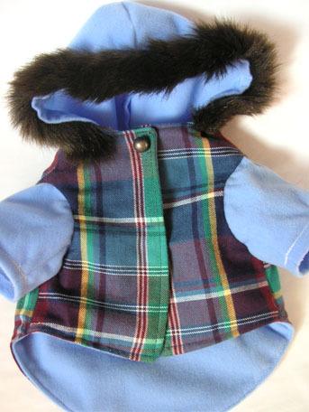 わんこのお洋服-チェックのコート(ブルー)
