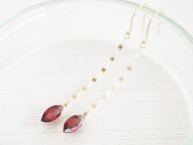 K10 Garnet Marquis Earrings
