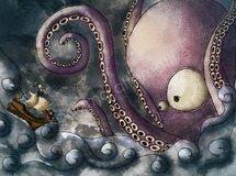 Rough octopus 【イラスト:A4】