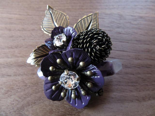 【SALE】アメジストと紫のお花ブローチB
