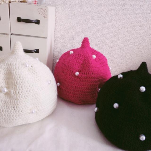 12色から選べます♪オシャレなどんぐり帽子 パール付き 1歳サイズ