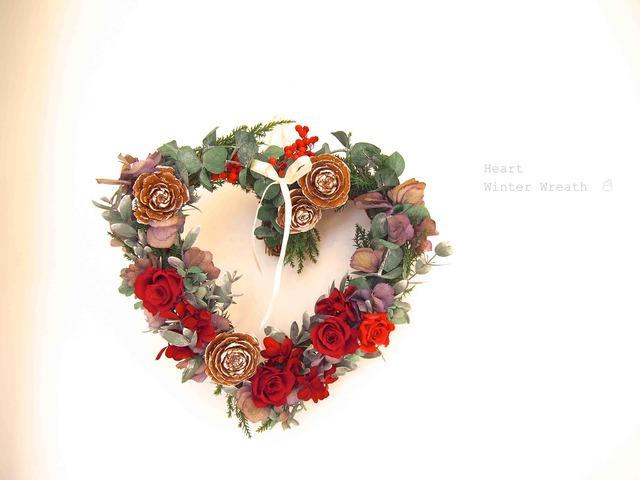 ハート型★プリザクリスマスリース