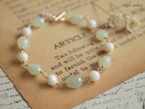New jade×White coral bracelet
