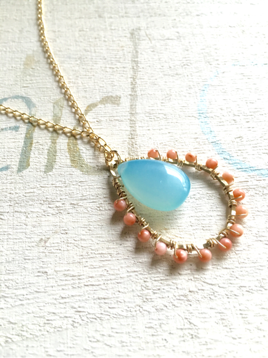 sea blue chalcedony&coral long necklace