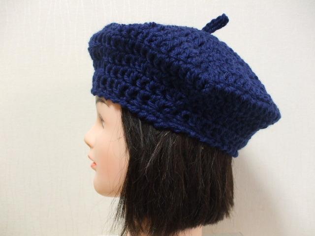 ハンドメイドベレー帽 成人女性用 明るい紺