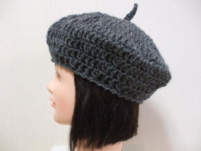 ニットベレー帽 成人女性用 濃いグレー