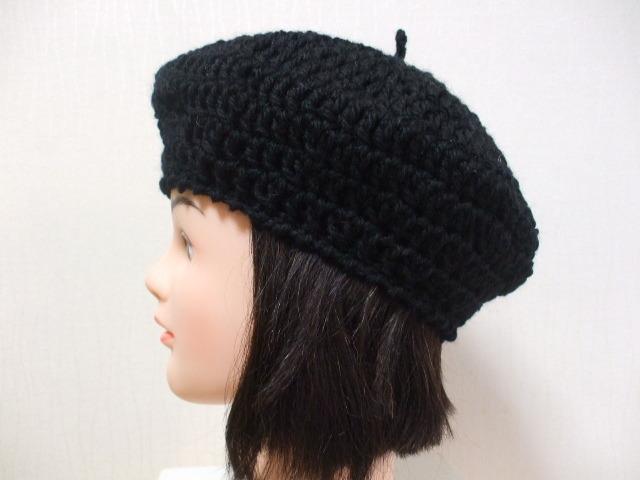 ニットベレー帽 成人女性用 黒