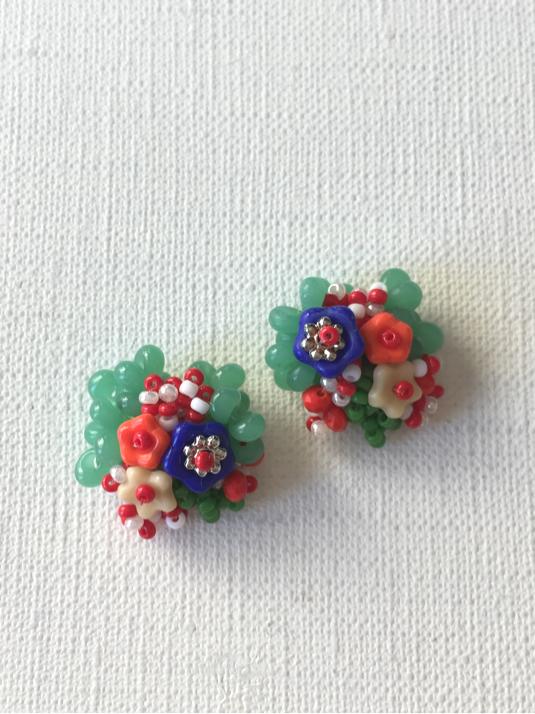【再販】花と木の実イヤリング/stripe