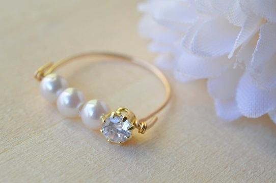 【14KGF】パールとジルコニアの指輪