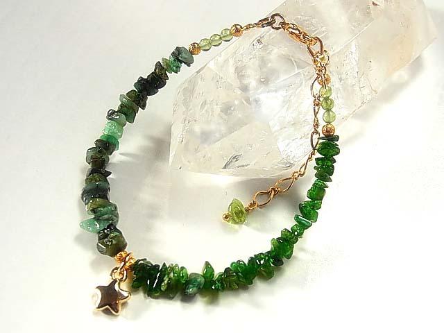 気高き緑の石 クロムダイオプサイト&エメラルドのジュエリーブレス