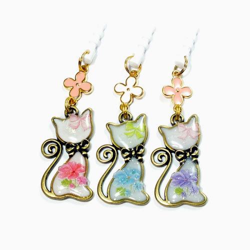 *白猫とお花のイヤフォンジャック/ストラップ*お色が選べます!
