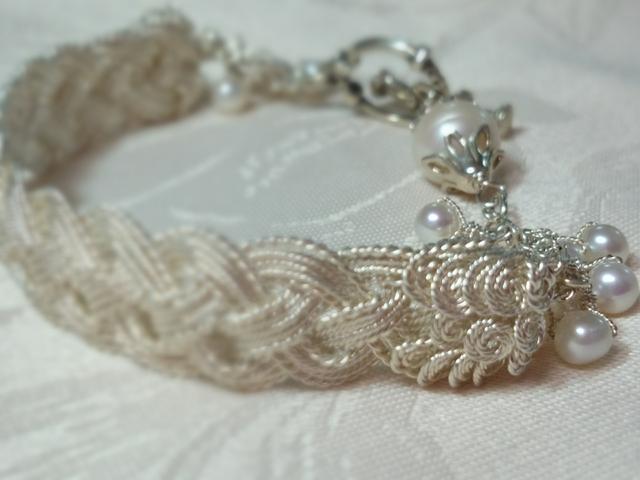 純銀ワイヤー折り編みブレス