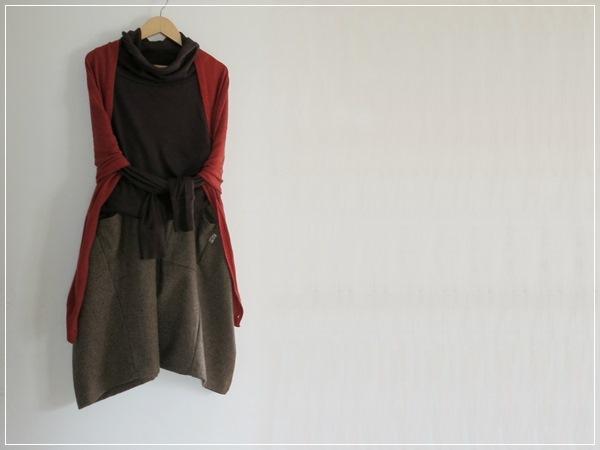 あったかwool* brown  ヘムライン バルーンスカート+リバティ