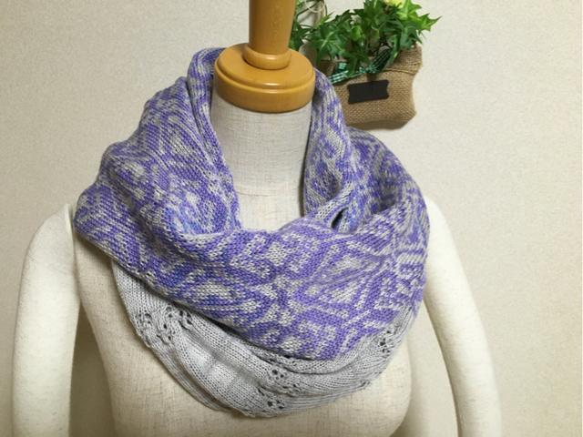 編み込み&透かしスヌード 薄 紫ミックス