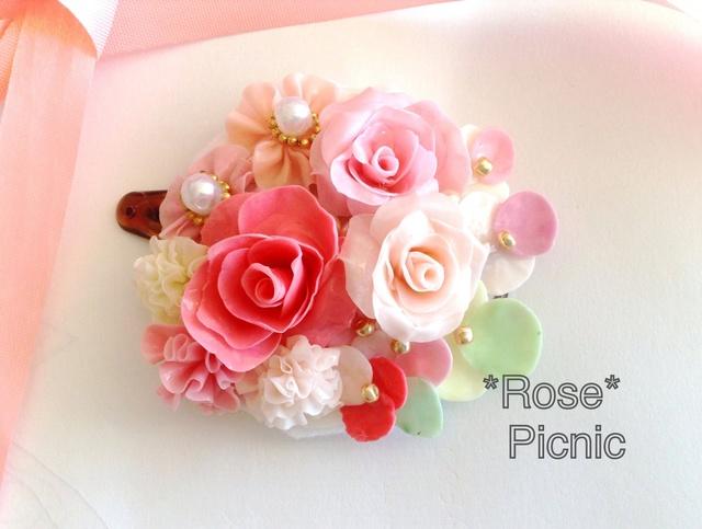薔薇のアクセサリー 幸せヘアのお花ブーケヘアピン
