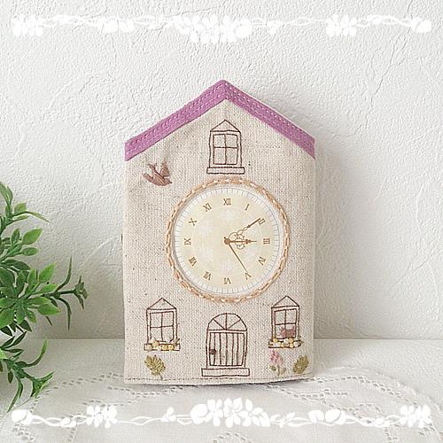 時計のあるお家のカードケース・pink