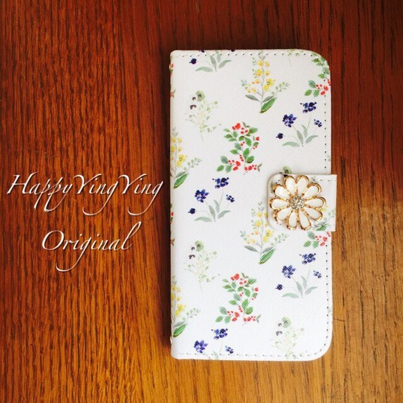 【iphone7/6/5/Xperia】白ケース小花柄【穴2】★菊花ビジュー