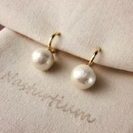 10mm cotton pearl earrings (Kisuka)