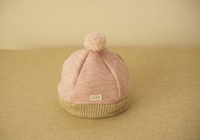 【m様オーダー分】baby&kidsあったかニットベレー帽(杢ピンク・Sサイズ)