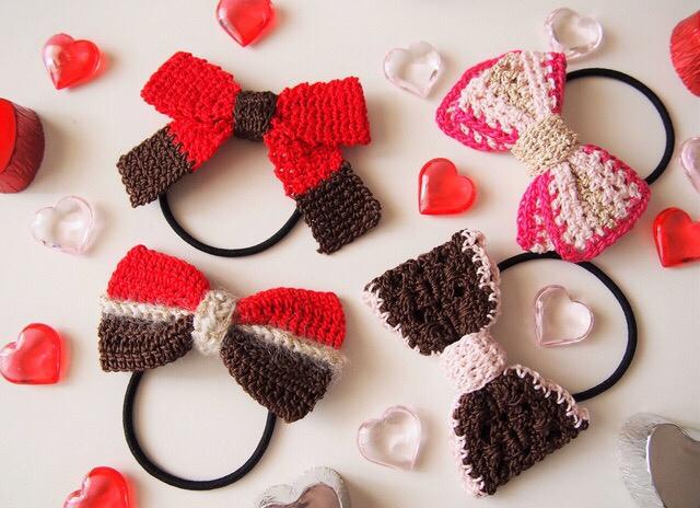 バレンタインカラー!手編みリボンのヘアゴム