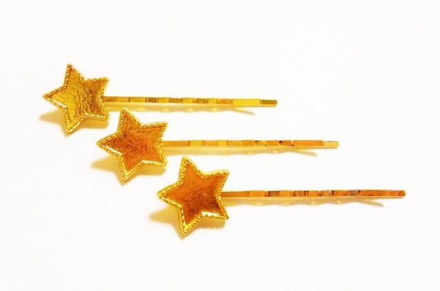 レジン加工皿付 星のヘアピン 3個