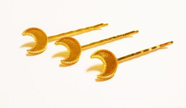 レジン加工皿付 月のヘアピン 3個