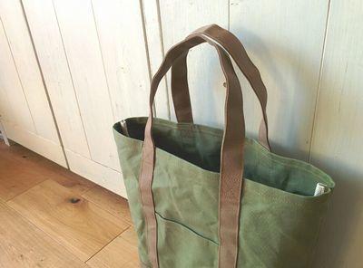 aokaz様オーダー品/パラフィン帆布の縦型トートL