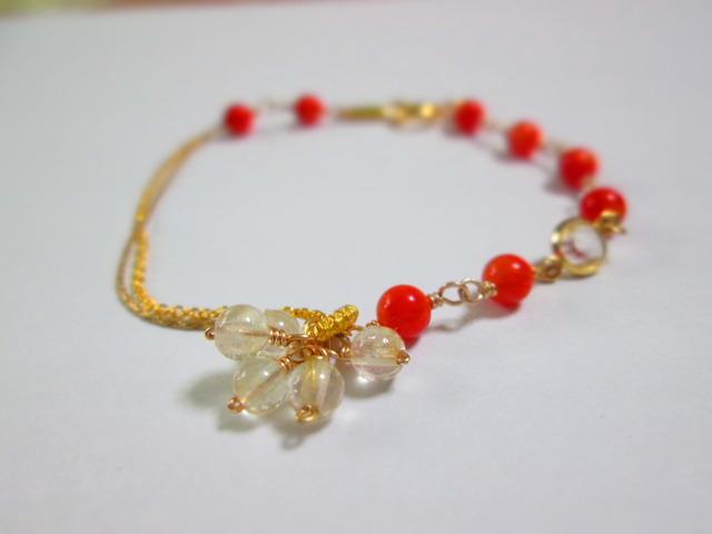 《送料無料》オレンジ珊瑚とシトリンのシャラシャラブレスレット