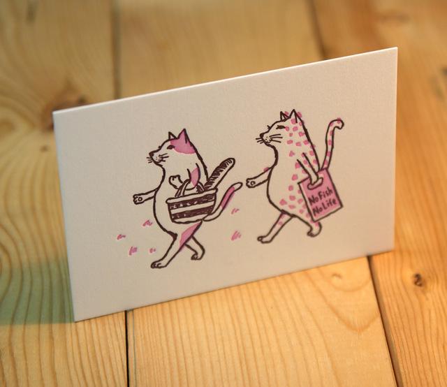 グリーティングカード 猫がお買い物(ピンク)
