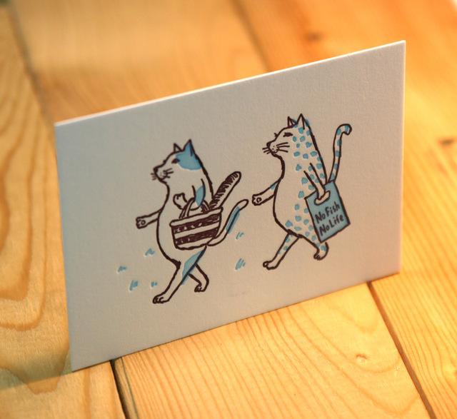 グリーティングカード 猫がお買い物(ブルー)