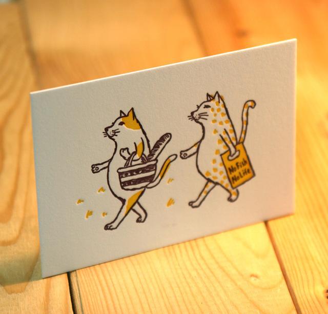 グリーティングカード 猫がお買い物(イエロー)