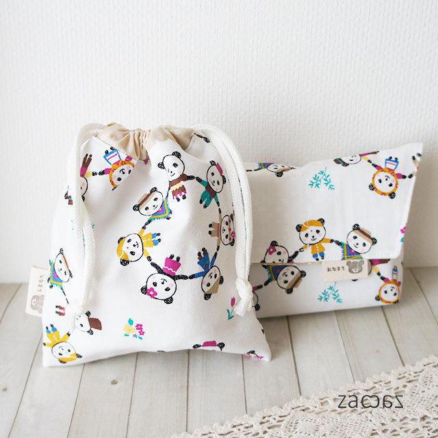 【販売終了】コップ袋とお弁当袋*パンダ
