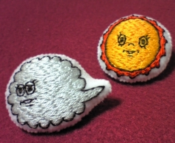 【ginta様リクエスト品】北風と太陽 刺繍ぷっくりブローチ