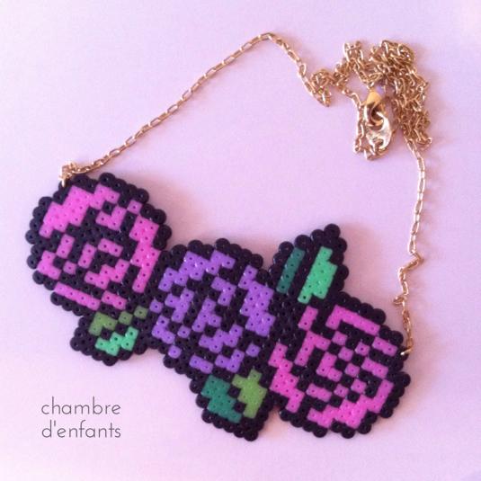 レトロ薔薇ネックレス(ピンク紫)