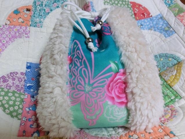 ボア巾着  蝶とバラ ラメつき