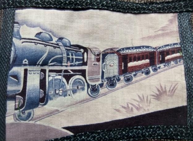 着物リメイク 綿大島で作った巾着袋 1005