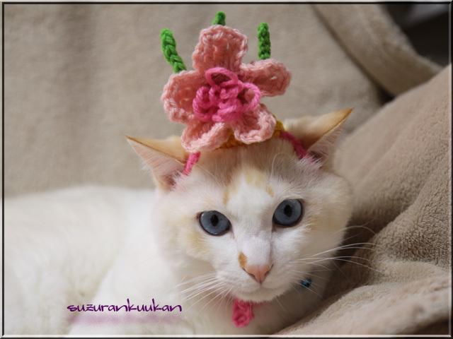 ★受注制作★編み桃の花冠